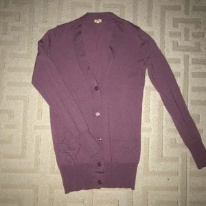 Cardigans are in! Pretty purple fitted cardigan